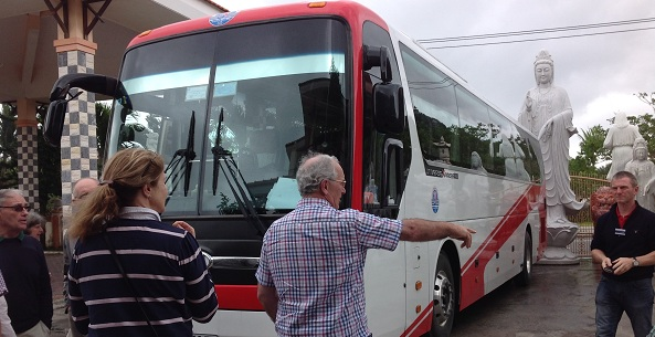 Our 45 seat bus from South to North Vietnam tour package for Mr. Dennison and his Australian group