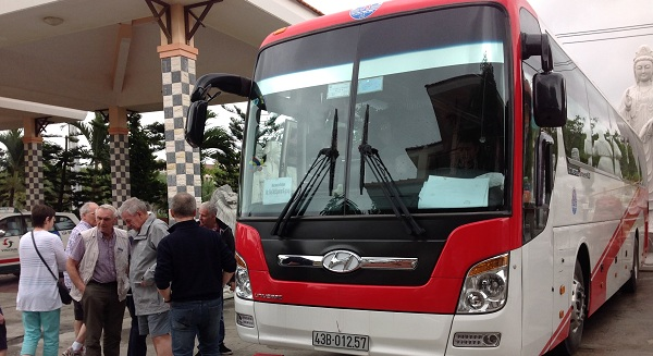 Our 45 seat bus from South to North Vietnam tour packages for Mr. Dennison and his Australian group