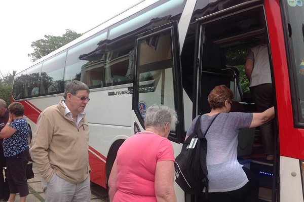 Our 45 seat bus from South to North package tour Vietnam for Mr. Dennison and his Australian group