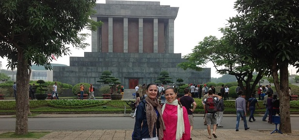 Ms. Tiziana and her friend on Hanoi travel deals with Deluxe Vietnam Tours